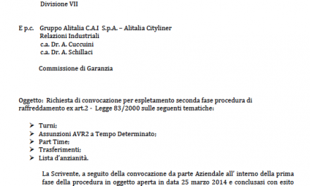 Alitalia: Richiesta incontro UGL