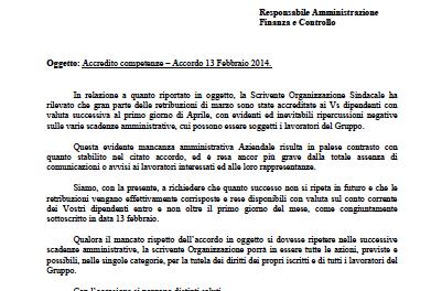 Accredito Stipendi: lettera del Segretario Francesco Alfonsi