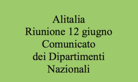 Alitalia – piano industriale – riunione del 12 giugno