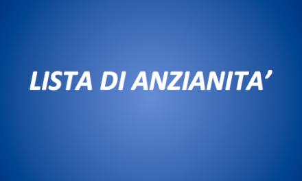 LISTA UNICA DI ANZIANITA'