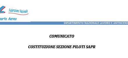 Piloti Lavoro Aereo e Antincendio Aereo – Costituzione Sezione Piloti SAPR
